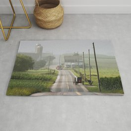 Amish Buggy confronts the Modern World Rug