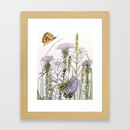 Bees Butterfly Thistle Watercolor Illustration Nature Art Framed Art Print