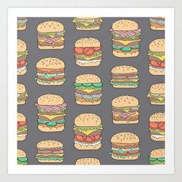 Hamburgers Junk Food Fast food on Dark Grey Art Print