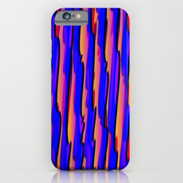 Vertical vivid curved stripes with imitation of the bark of a violet tree trunk. iPhone Case
