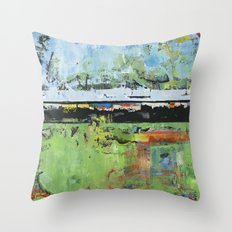 Salvation Green Abstract Contemporary Artwork Painting Throw Pillow