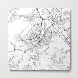 Stuttgart Map, Germany - Black and White Metal Print