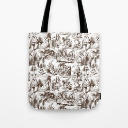 Alice in Wonderland | Toile de Jouy | Brown and White Tote Bag