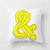 ampersand Throw Pillows featuring Ampersand by MADEYOUL__K