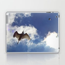 Egrets soaring against blue sky Laptop & iPad Skin