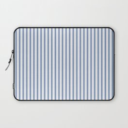 Mattress Ticking Narrow Striped Pattern in Dark Blue and White Laptop Sleeve