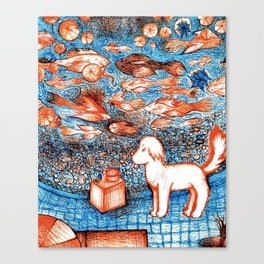 Suki by the Koi Pond Canvas Print