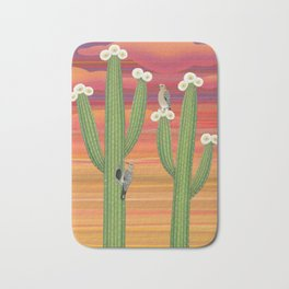 gila woodpeckers on saguaro cactus Bath Mat