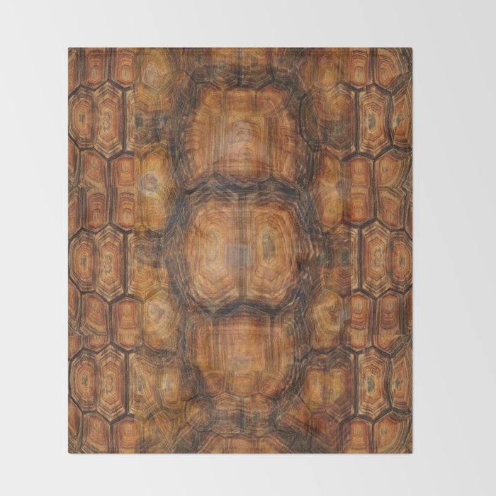 Brown Patterned Organic Textured Turtle Shell Design Throw Blanket Cool Patterned Blanket