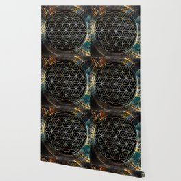 Flower of Life and Zodiac in Cosmic Space Wallpaper