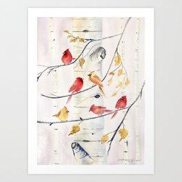 Winter Song 4 - Cardinal Birds Art Print