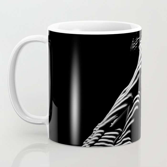 0035-DJA Zebra Sitting Nude Woman Yoga Black White Abstract Curves Expressive Lines Slim Fit Girl Coffee Mug