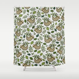 Little Sloth Hanging Around, Cute Sloth Print, Gray and Green, Hand-Drawn Sloth Shower Curtain