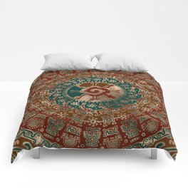 Hunab Ku Gold Red and Teal Comforters