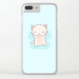 Kawaii Cute Snow Angel Cat Clear iPhone Case