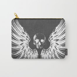 Grey & White Rock Angel Wings Skull Carry-All Pouch