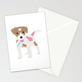 Dog Licking a Pink Lollipop Stationery Cards