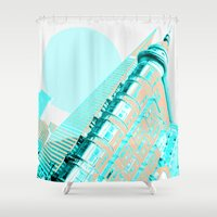 san francisco Shower Curtains featuring San Francisco by DM Davis
