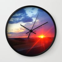 south africa Wall Clocks featuring Sunset in South Africa by Rebekah Cano