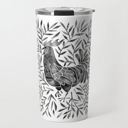 Le Coq – Watercolor Rooster with Black Leaves Travel Mug