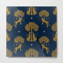 Magical Night / Cheetahs, Palm trees, Moon, Stars Metal Print