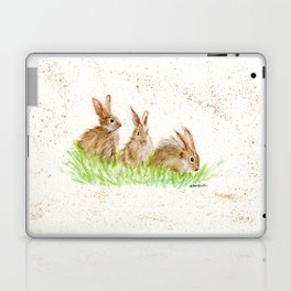 Hoppy Trio Bunnies - animal watercolor painting of rabbits Laptop & iPad Skin