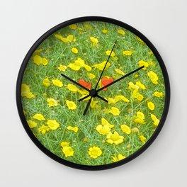Watercolor poppies Wall Clock