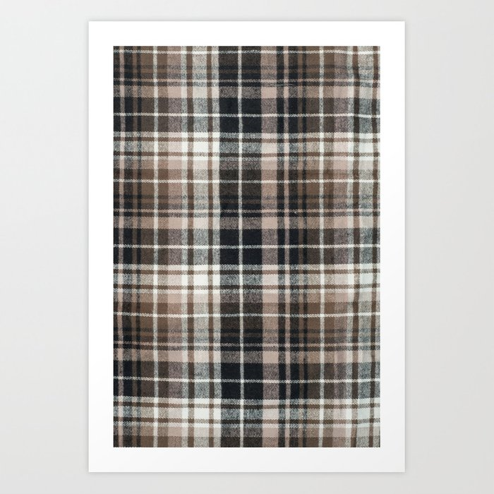 Plaid Fabric Print In Brown Black And White Art Print By