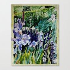 Irises in the garden - watercolor Canvas Print