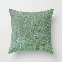 gustav klimt Throw Pillows featuring Gustav Klimt - Rosebushes under the Trees by TilenHrovatic