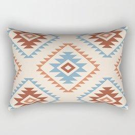Aztec Style Motif Pattern Blue Cream Terracottas Rectangular Pillow