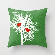 Tree Silhouette on gree pattern Throw Pillow