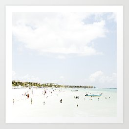 White Waves Beach Art Print