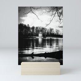 Möhne Reservoir Lake Tower bw Mini Art Print