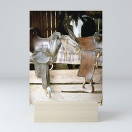 Horse stable and saddles. Mini Art Print
