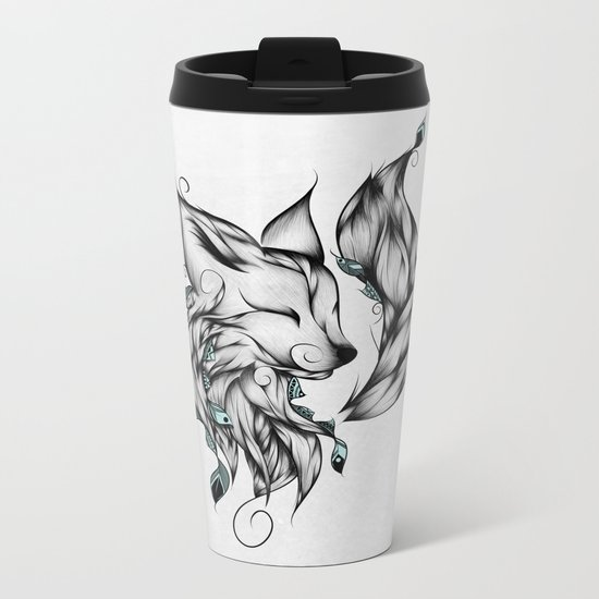 Fox B&W  Metal Travel Mug