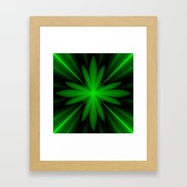 Neon Green Flower Fractal Framed Art Print