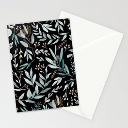 Black Eucalyptus Pattern Stationery Cards