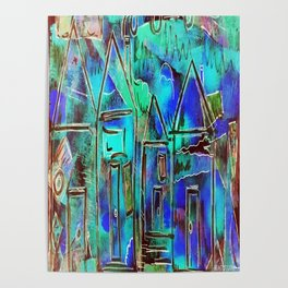Neon Blue Houses Poster