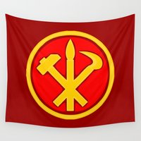 korea Wall Tapestries featuring Workers Party of Korea emblem symbol by Sofia Youshi