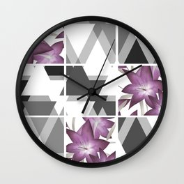 Pink lilies on grey triangles . Wall Clock
