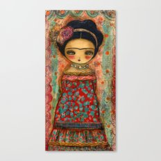 Frida In A Red And Teal Dress Canvas Print