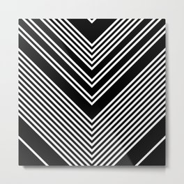 Back and White Lines Minimal Pattern no.2 Metal Print