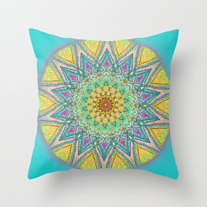 Burst Mandala 0118 Throw Pillow