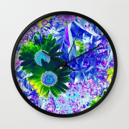 Emerald Daisy with Amethyst  and Pink Sapphire Frosting Wall Clock