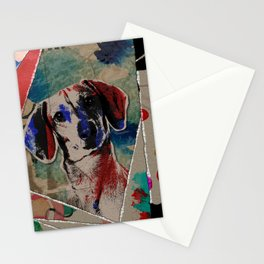 Dachshund Abstract mixed media digital art collage Stationery Cards