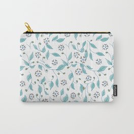 Blooming Hearts Flower Pattern Carry-All Pouch