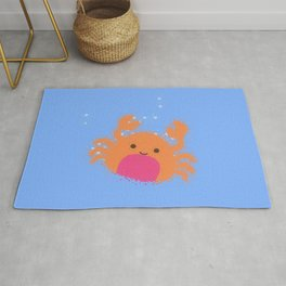 Orange Cartoon Crab Rug