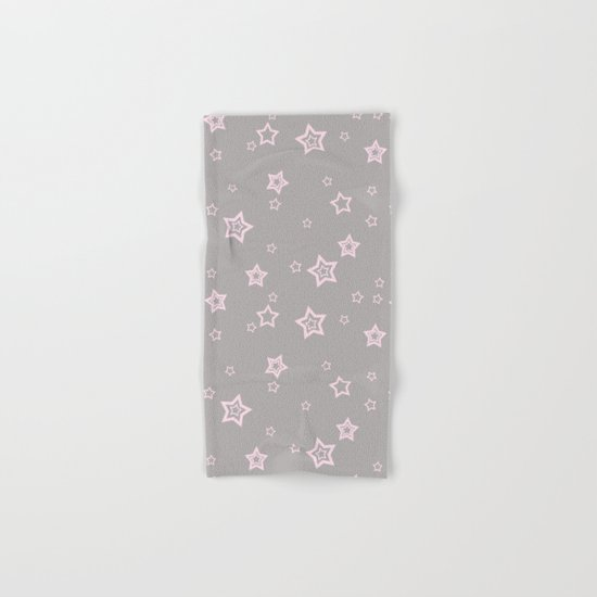 Pink little stars on grey on #Society6 Hand & Bath Towel