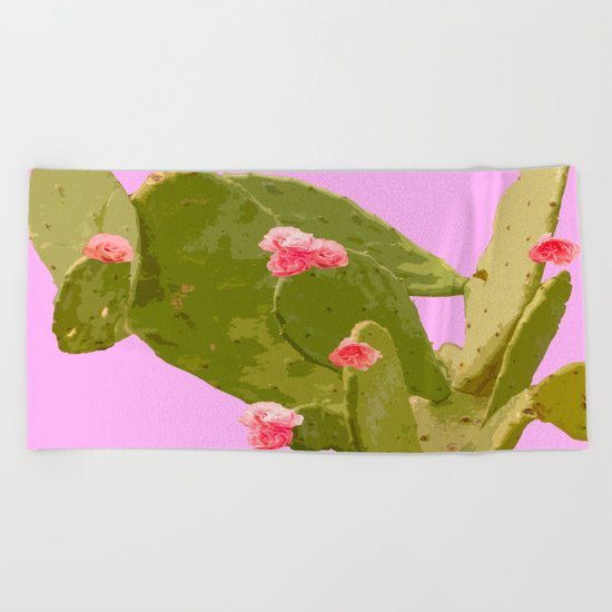 Green cactus with pink flowers on a bright pink background - summer mood Beach Towel